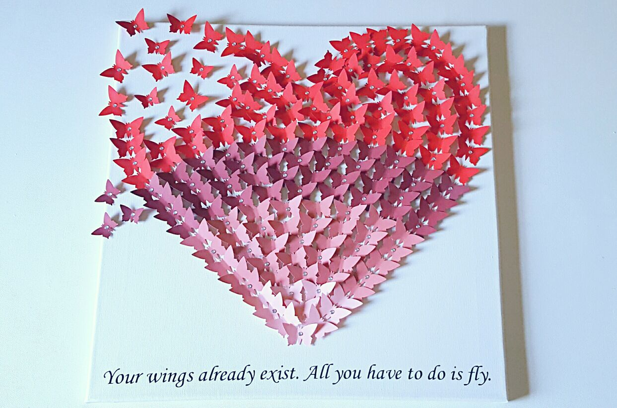 Butterfly heart canvas red