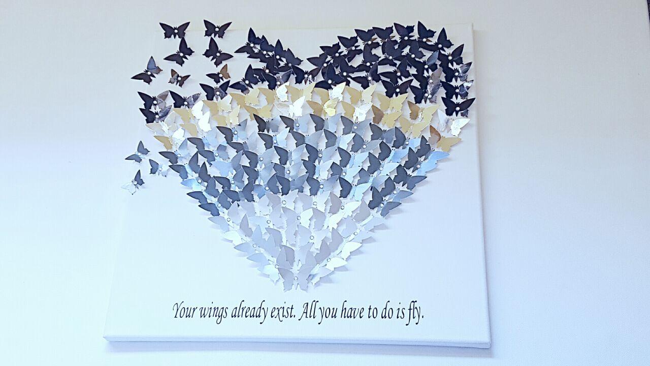 3d butterfly canvas silver