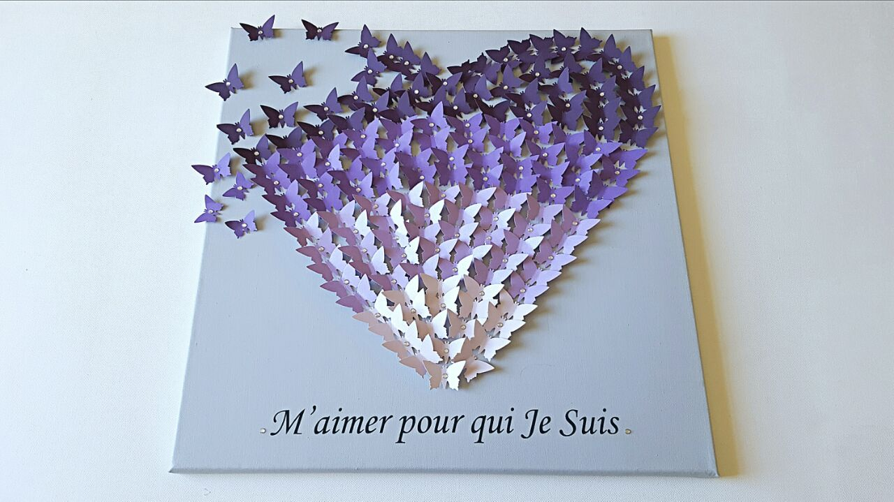 3d butterfly canvas purple