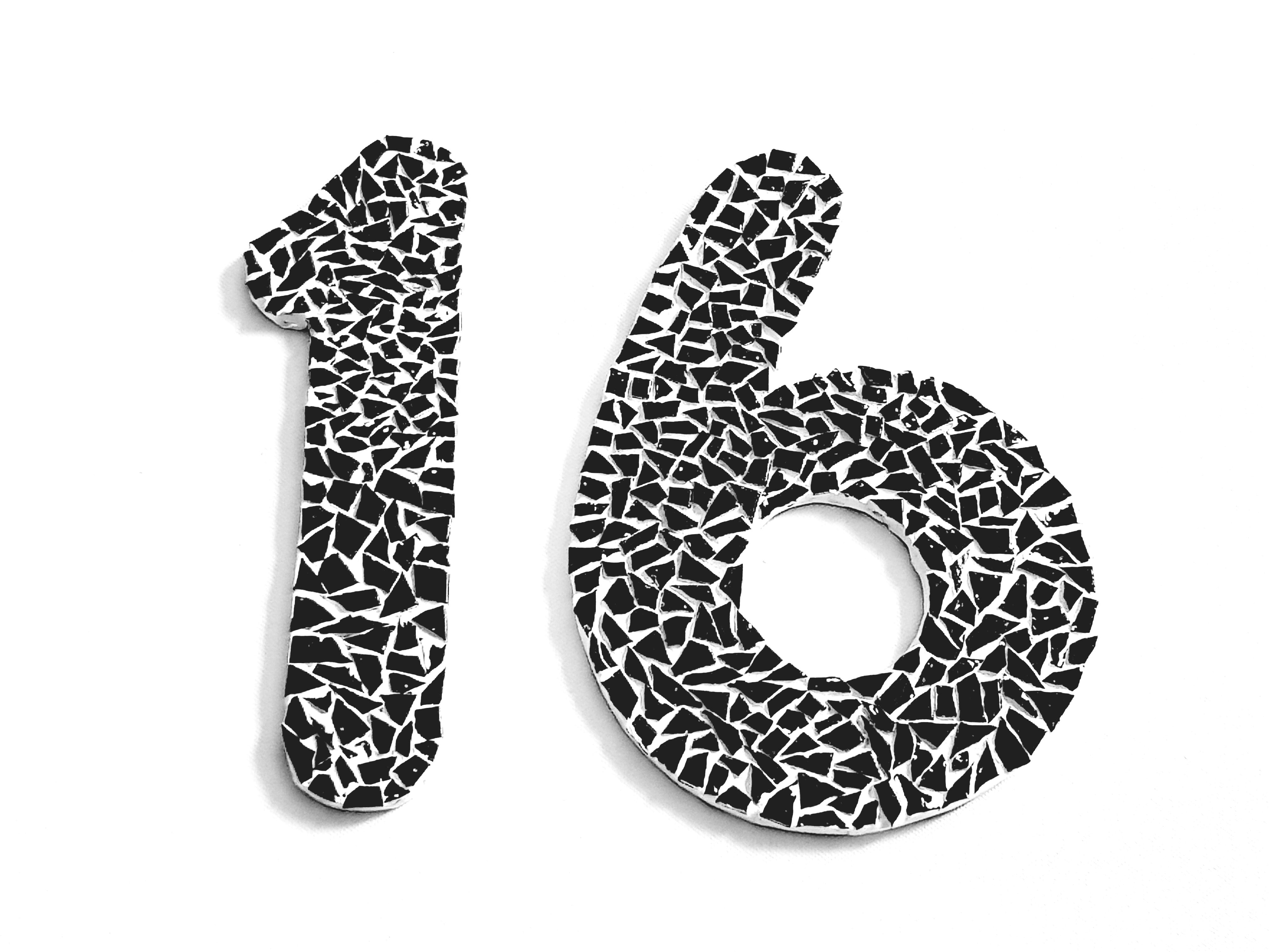 Single mosaic house numbers in black - Sivan's